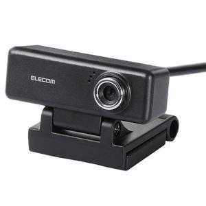 エレコム PC Webカメラ/200万画素/マイク内蔵/高精細ガラスレンズ/イヤホン付/ブラックの画像1