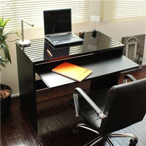 パソコンデスク スライド テーブル 90cm幅 日本製 鏡面 ブラック デスク ハイタイプ 鏡面デスク オフィスデスク 勉強机 学習机 書斎机 PCデスク 省スペース おしゃれ 北欧 - 拡大画像