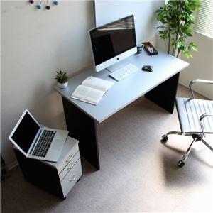 パソコンデスク シルバー&ブラック デスク 日本製 120cm幅 2点セット ハイタイプ おしゃれ 木製 学習机 省スペース 北欧