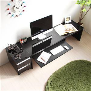 パソコンデスク デスク スライド テーブル ローデスク 鏡面仕上げ ロータイプ 150cm幅 2点セット ブラック ロータイプ ロー l字型 おしゃれ 木製