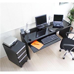 パソコンデスク 書斎机 スライド テーブル パソコンデスク 鏡面仕上げ ハイタイプ 150cm幅 2点セット ブラック