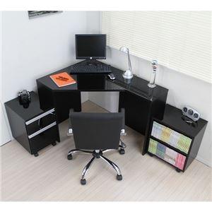 パソコンデスク デスク コーナーデスク L字型 高級ブラック鏡面 ハイタイプ 3点セット デスク+ラック+チェストpcデスク 省スペース おしゃれ 北欧