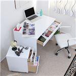 パソコンデスク オフィスデスク 90cm幅 2点セット 引出し 3段チェスト ホワイト 日本製