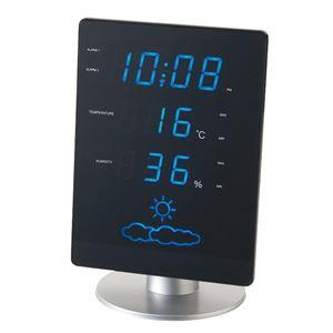 IDEA LABEL 電波時計 LEDウェザーステーションフラットLCR057-BL - 拡大画像