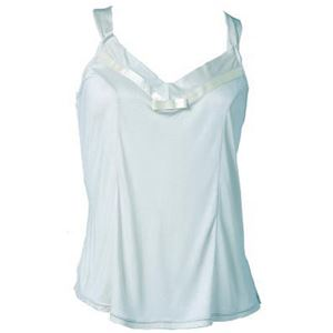 アイシルク シルク胸元リボン付キャミソール サックス M - 拡大画像