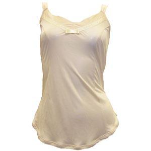 アイシルク シルク胸元リボン付キャミソール シャンパン M - 拡大画像