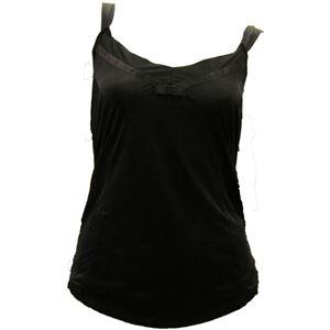 アイシルク シルク胸元リボン付キャミソール ブラック L - 拡大画像