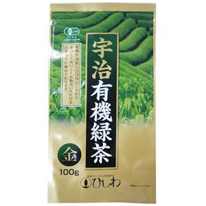 (まとめ買い)ひしわ 宇治有機緑茶 金 100g×6セット
