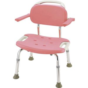 リッチェル やわらかシャワーチェア 肘掛付ワイド ピンク
