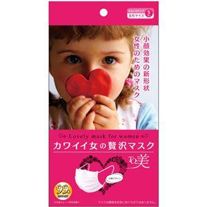 (まとめ買い)カワイイ女の贅沢マスクTO美 PM2.5 花粉 女性用 ももいろピンク5枚入×10セット - 拡大画像