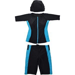 フィットネス補正水着 半袖タイプ ブルーライン L-LL - 拡大画像