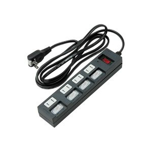 個別集中スイッチ付節電タップ4個口 2m 黒 h01