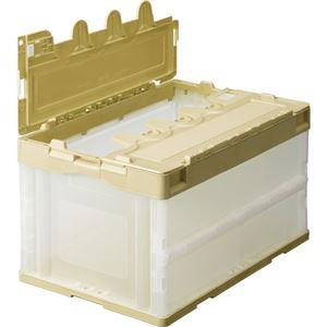 (まとめ) TANOSEE 折りたたみコンテナ フタ付 75L アイボリー/透明 1台 【×2セット】