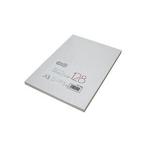 (まとめ) TANOSEE αエコグロスコート128 A3 128g 1冊(100枚) 【×3セット】