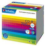 (まとめ) バーベイタム データ用CD-R 700MB ホワイトワイドプリンターブル 5mmスリムケース SR80SP20V1 1パック(20枚) 【×3セット】