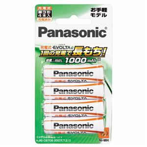 (まとめ)パナソニックニッケル水素電池充電式EVOLTAeお手軽モデル単3形BK-3LLB/4B(1パック:4本)【×4セット】