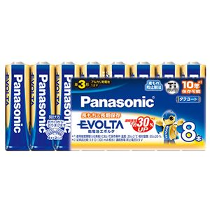 (まとめ)パナソニックアルカリ乾電池EVOLTA単3形LR6EJ/8SW(1パック:8本)【×4セット】