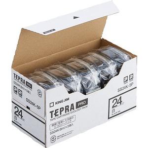 キングジム テプラ PRO テープカートリッジ 24mm 白/黒文字 SS24K-5P 1パック(5個) - 拡大画像