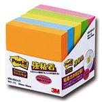 (まとめ) 3M ポストイット 強粘着ノート 50×50mm ネオンカラー5色 650-5SSAN 1パック(5冊) 【×5セット】
