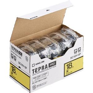 キングジム テプラ PRO テープカートリッジ パステル 18mm 黄/黒文字 SC18Y-5P 1パック(5個) - 拡大画像