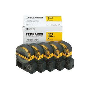 キングジム テプラ PRO テープカートリッジ パステル 12mm 黄/黒文字 SC12Y-5P 1パック(5個) - 拡大画像