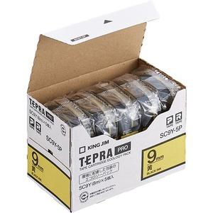 キングジム テプラ PRO テープカートリッジ パステル 9mm 黄/黒文字 エコパック SC9Y-5P 1パック(5個) - 拡大画像