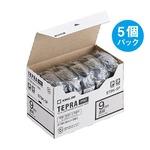 キングジム テプラ PRO テープカートリッジ 9mm 透明/黒文字 ST9K-5P 1パック(5個)