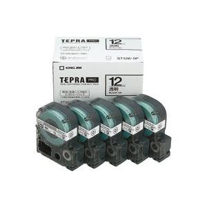 キングジム テプラ PRO テープカートリッジ 12mm 透明/黒文字 ST12K-5P 1パック(5個) - 拡大画像