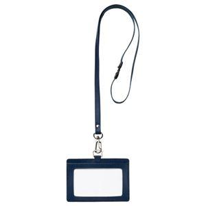 (まとめ) フロント 本革製ネームカードホルダー ヨコ型 ストラップ付 ブルー RLNH-E-B 1個 【×5セット】