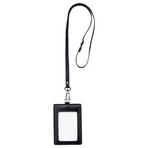 (まとめ) フロント 本革製ネームカードホルダー タテ型 ストラップ付 ブラック RLNH-S-BL 1個 【×5セット】