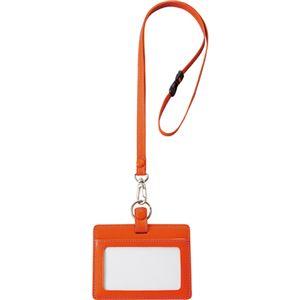 フロント 本革製IDネームカードホルダー ヨコ型 ストラップ付 オレンジ INCHD-O 1個 【×3セット】 h01