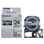 (まとめ) キングジム テプラ PRO テープカートリッジ 備品管理ラベル 24mm 銀/黒文字 SM24XC 1個 【×4セット】