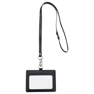(まとめ) TANOSEE 合皮製ネームカードホルダー ヨコ型 ストラップ付 ブラック 1個 【×10セット】
