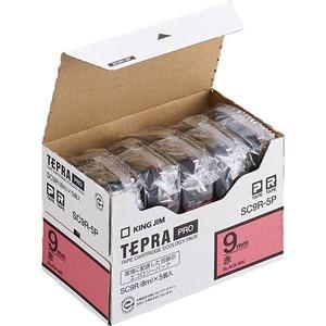 キングジム テプラ PRO テープカートリッジ パステル 9mm 赤/黒文字 エコパック SC9R-5P 1パック(5個) - 拡大画像