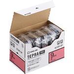 キングジム テプラ PRO テープカートリッジ パステル 9mm 赤/黒文字 エコパック SC9R-5P 1パック(5個)