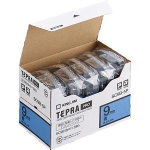 キングジム テプラ PRO テープカートリッジ パステル 9mm 青/黒文字 エコパック SC9B-5P 1パック(5個) - 拡大画像