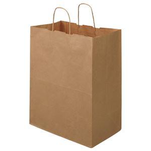 (まとめ) TANOSEE 紙手提袋 丸紐 マチ広・大 ヨコ350×タテ440×マチ幅210mm 茶 1パック(30枚) 【×4セット】