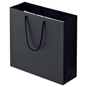 (まとめ) TANOSEE マットコート手提げ袋 M ヨコ320×タテ300×マチ幅110mm ブラック 1パック(10枚) 【×3セット】