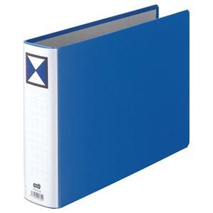 (まとめ) TANOSEE 両開きパイプ式ファイル A4ヨコ 500枚収容 背幅66mm 青 1冊 【×5セット】