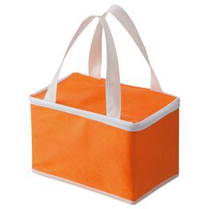 (まとめ) TANOSEE 不織布保冷バッグ ヨコ215×タテ145×マチ幅140mm オレンジ 1パック(5枚) 【×2セット】