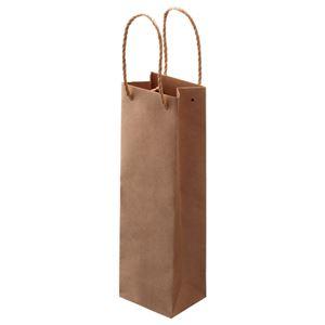 (まとめ)TANOSEE紙手提袋ワイン用タテ長ヨコ110×タテ360×マチ幅90mm茶1パック(30枚)【×2セット】