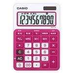 (まとめ) カシオ CASIO カラフル電卓 10桁 ミニジャストタイプ ルージュピンク MW-C11A-RD-N 1台 【×5セット】