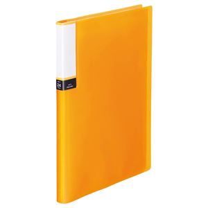 (まとめ) TANOSEE クリアブック(透明表紙) A4タテ 24ポケット 背幅15mm オレンジ 1セット(10冊) 【×3セット】