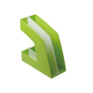 (まとめ)ファイルボックス(仕切り付) A4タテ グリーン 10個