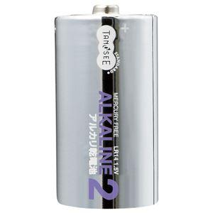 (まとめ)TANOSEEアルカリ乾電池単2形1セット(10本:2本×5パック)【×5セット】