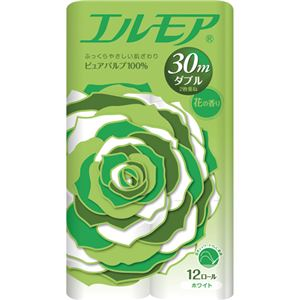 (まとめ) カミ商事 エルモア 花の香り ダブル 芯あり 30m 1セット(96ロール:12ロール×8パック) 【×2セット】