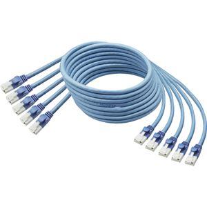 TANOSEE 爪折れ防止LANケーブル(CAT6) ブルー 2m 1パック(5本) 【×2セット】 h01
