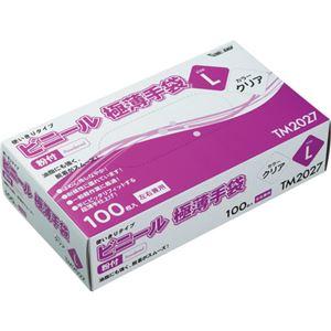 (まとめ) 川西工業 ビニール極薄手袋 #2027 粉付 L TM2027L 1セット(2000枚:100枚×20パック) 【×2セット】