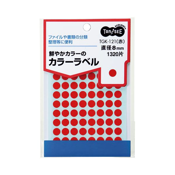 TANOSEE カラー丸ラベル 直径8mm 赤 1パック(1320片:88片×15シート) 【×30セット】f00