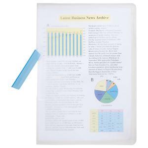 (まとめ) TANOSEE スライドクリップファイル A4タテ 20枚収容 ブルー 1冊 【×25セット】